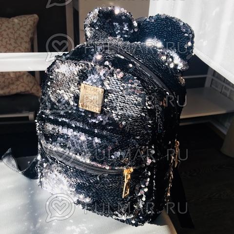 Рюкзак с пайетками и Ушами меняет цвет Чёрный-Серебристый Лунный Пупс