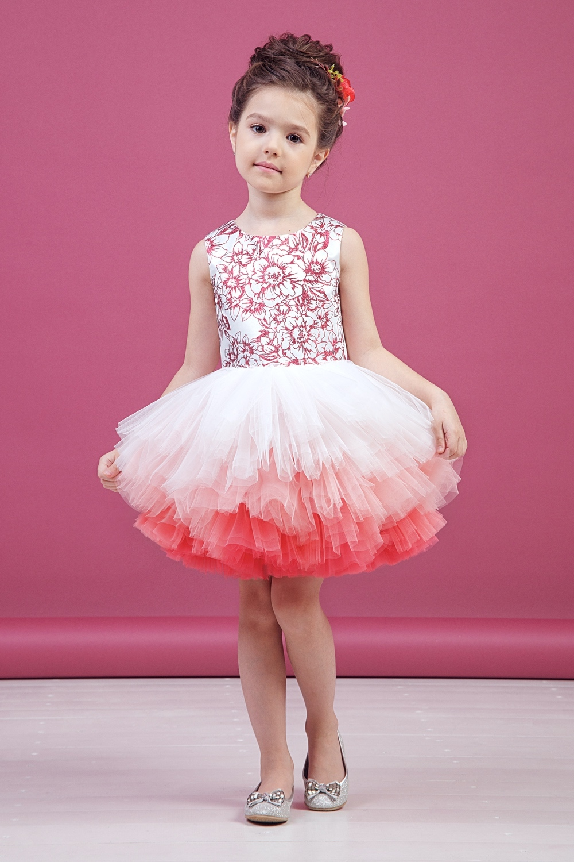 Платье коралловое для девочки 38-9008-3