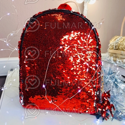 Рюкзак с двусторонними пайетками меняет цвет Красный-Серебристый Margo и брелок Единорог