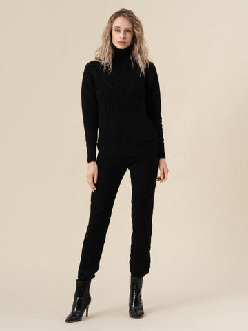 Женские брюки черного цвета из 100% кашемира - фото 2