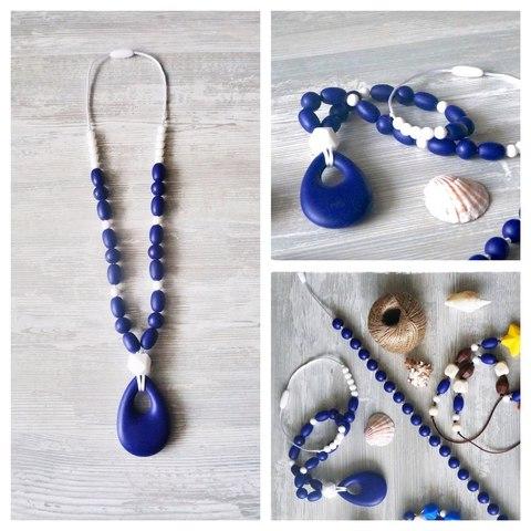 Бусы Синий кулон