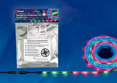 ULS-F20-5050-30LED/m-10mm-IP65-DC12V-7,2W/m-5M-RGB SMART Гибкая светодиодная лента на самоклеящейся основе. Катушка 5 м. в герметичной упаковке. RGB свет. Бегущий огoнь. ТМ Uniel.