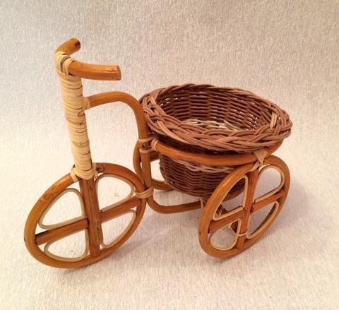 Кашпо велосипед (ротанг), 25х15/D16xH22 см, цвет: натуральный