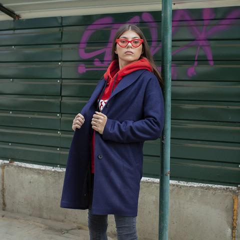 Подростковое кашемировое пальто синего цвета на девочку