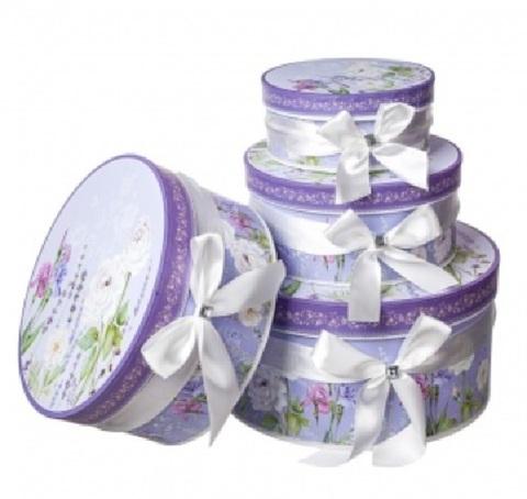 Набор коробок круглых Прованс 4шт, D23хH10см, белый/сиреневый