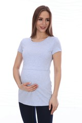 Мамаландия. Футболка для беременных и кормящих, голубой меланж вид 3