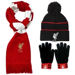 Комплект вязаная шапка с помпоном, шарф и перчатки с логотипом ФК Ливерпуль (Liverpool)