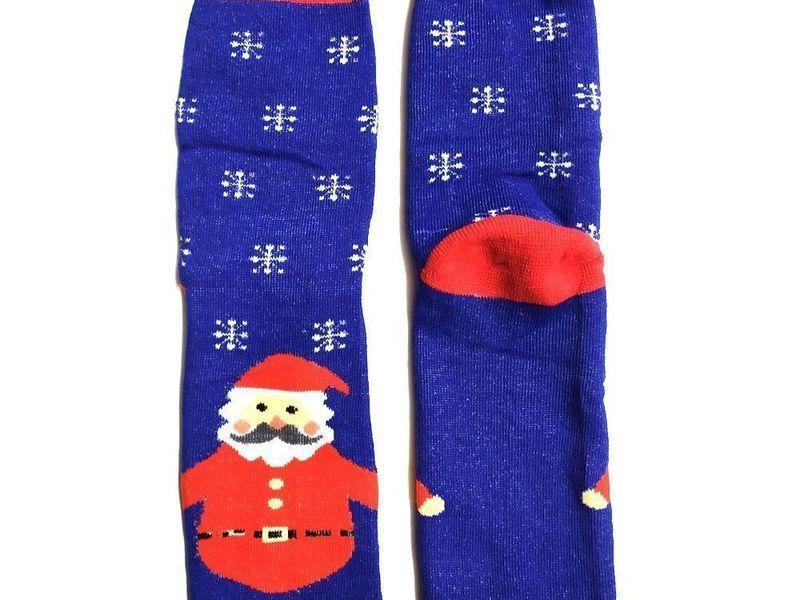Новогодние носки теплые синие