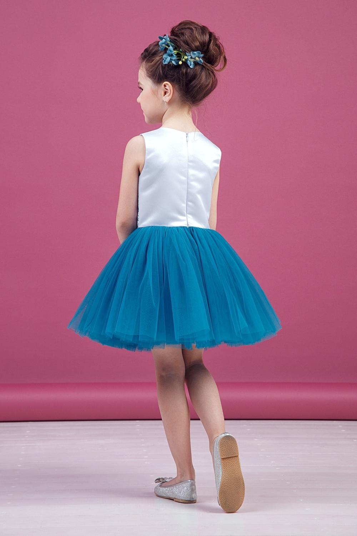 Платье бирюзовое для девочки 38-9011-2