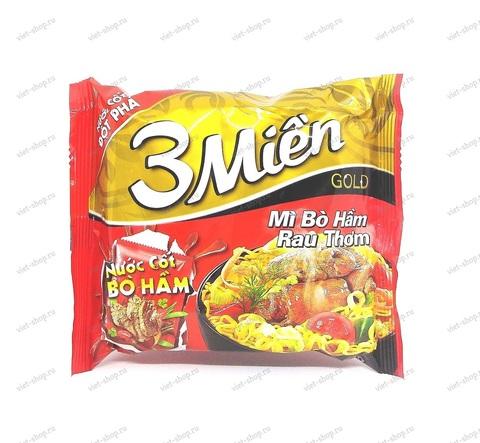 Вьетнамская пшеничная остро-кисло-сладкая лапша 3Mien со вкусом говядины, 75 гр.