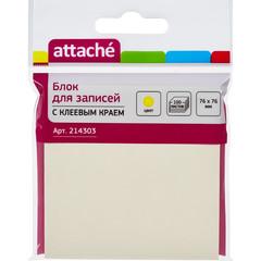 Блок-кубик ATTACHE с клеевым краем 76х76 мм желтый 100 листов