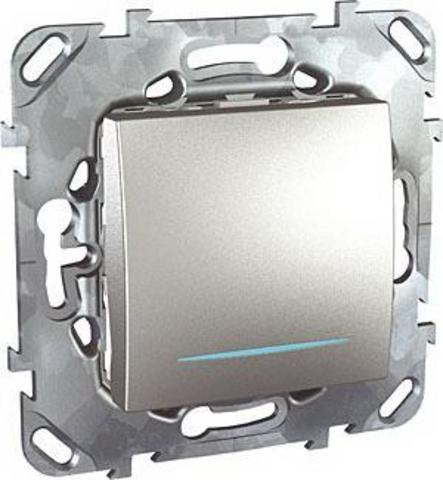 Выключатель одноклавишный с подсветкой проходной - Переключатель с подсветкой одноклавишный. Цвет Алюминий. Schneider electric Unica Top. MGU5.203.30NZD