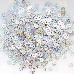 Пайетки серебряные с голограммой, 3 мм, 10 грамм