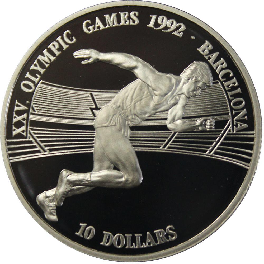 10 долларов. XXV Летние Олимпийские игры, Барселона 1992. Острова Кука. 1990 год. Proof
