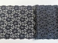 Эластичное кружево, 22,5 см, черное с бежевой кордовой нитью, (Арт: EK-2014), м