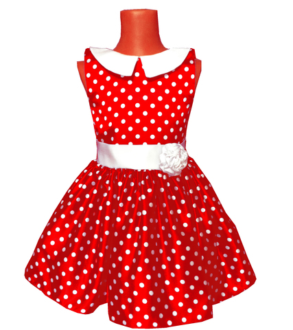 Платье красное в горох с воротничком