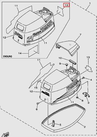 Наклейка задняя для лодочного мотора Т30 Sea-PRO (1-13)