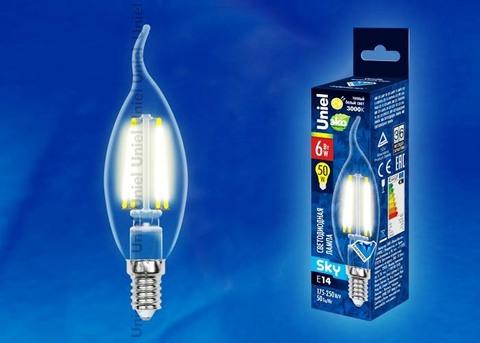 Uniel Лампа LED-CW35-6W/WW/E14/CL Sky свеча на ветру (теплый свет)