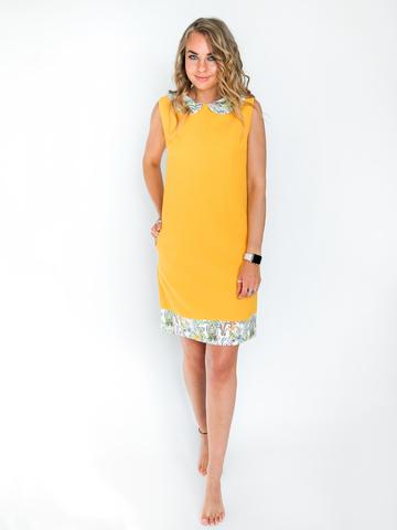 Платье желто-оранжевое с белым воротником