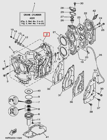 Блок цилиндров в сборе для лодочного мотора Т30 Sea-PRO (2-2)