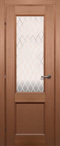 Дверь Краснодеревщик ДО 3324, цвет грецкий орех, остекленная