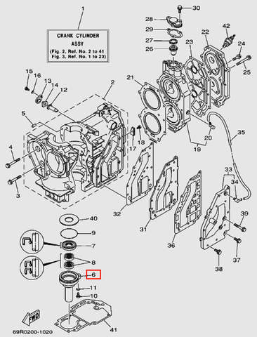 Корпус сальника для лодочного мотора Т30 Sea-PRO (2-6)
