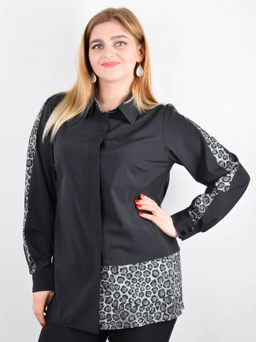 Габриэла. Комбинированная блуза большого размера. Леопард серый.
