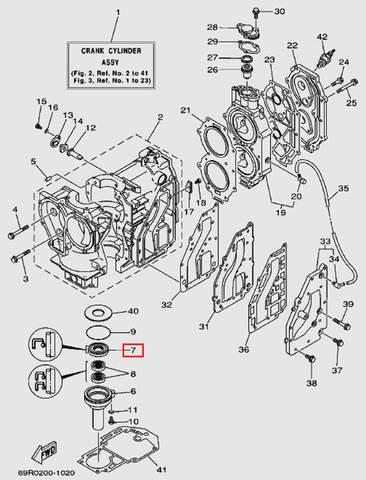 Сальник коленвала нижний 48*25*8 для лодочного мотора Т30 Sea-PRO (2-7)