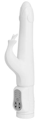 Белый вибратор с клиторальным отростком Kelsi - 18,5 см.