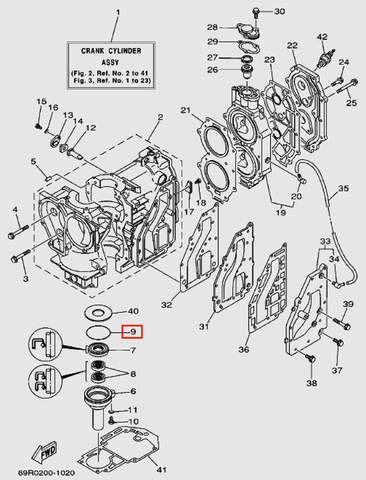 Кольцо резиновое коленвала нижнее 3*60 для лодочного мотора Т30 Sea-PRO (2-9)