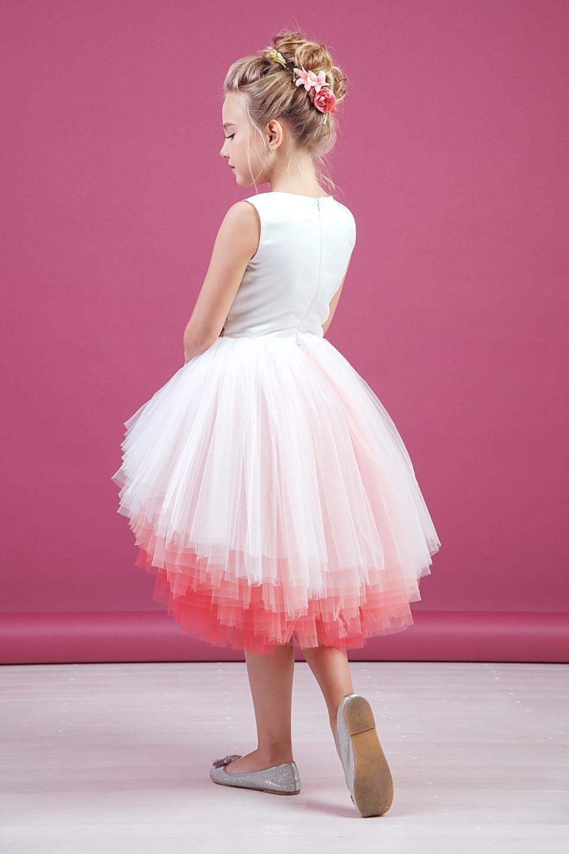 Платье коралловое для девочки 38-9009-3
