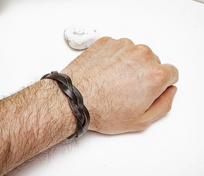 BL796-2 Мужской плетеный браслет из коричневой кожи фото 04