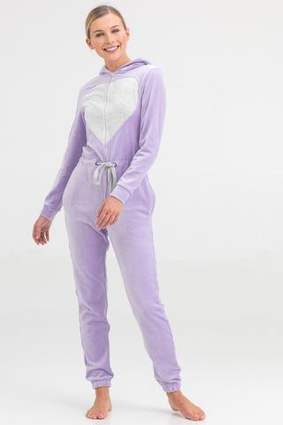 Пижама-комбинезон женская велюровая лиловая