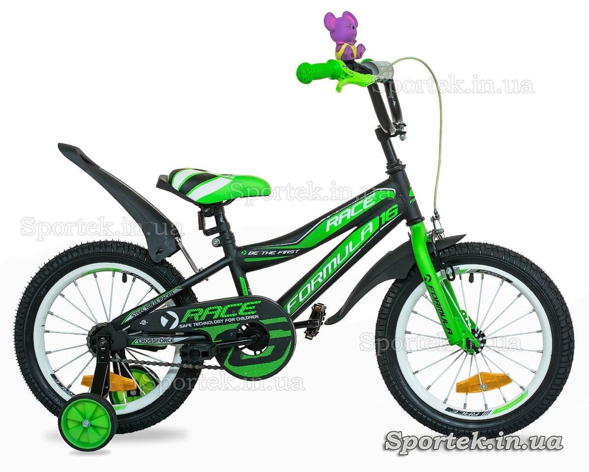 Детский 4-х колесный велосипед Formula Race (Формула Рейс) черно-зеленый