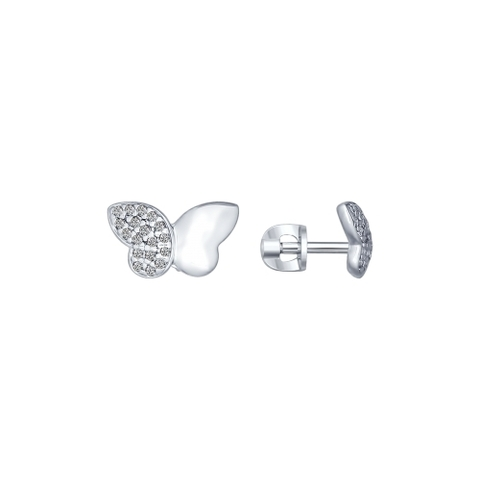 94022196 - Серьги-пусеты бабочки из серебра с фианитами