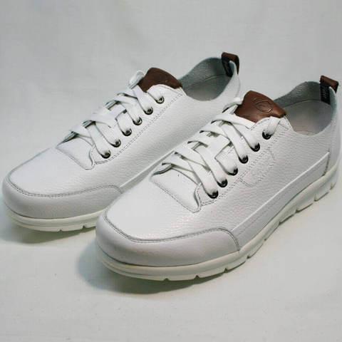 Белые мужские кроссовки натуральная кожа. Модные кроссовки туфли Faber193-White