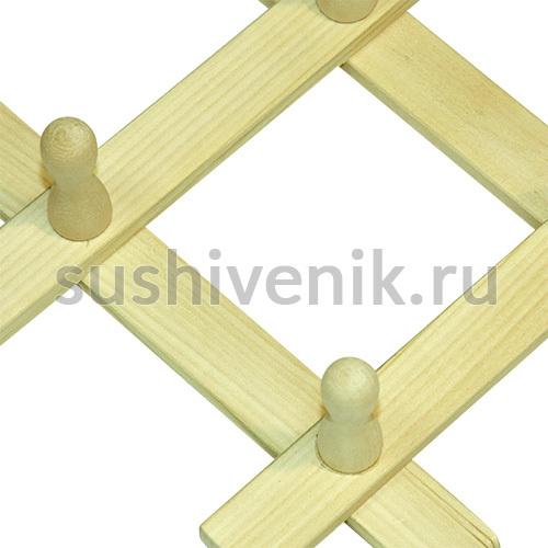 Вешалка-гармошка с 8 крючками из липы