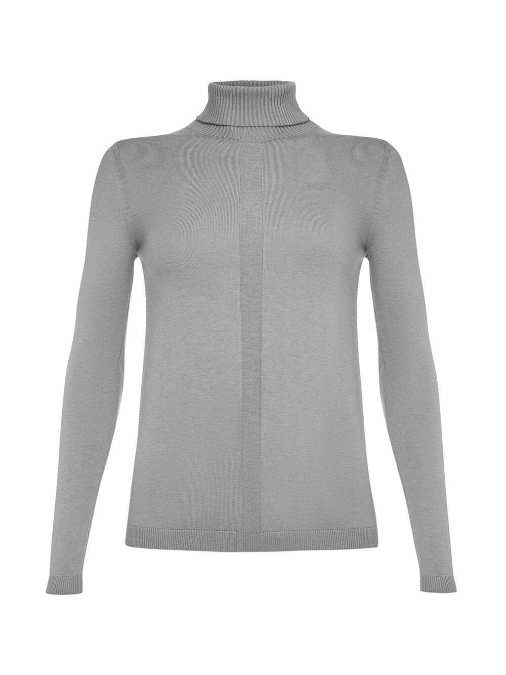 Женский джемпер цвета светло-серый меланж из шерсти и шелка - фото 1