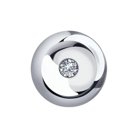 Подвеска круглая из белого золота с бриллиантом
