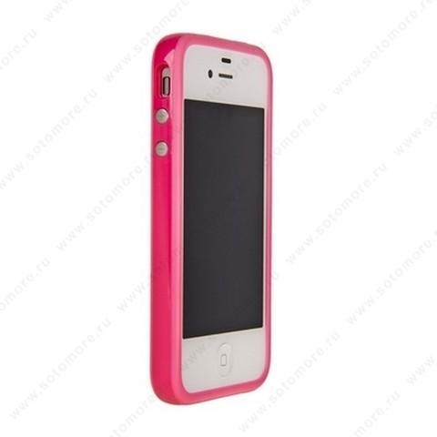 Бампер Apple для Apple iPhone 4s/ 4 Bumper, цветное яблоко на упаковке, розовый