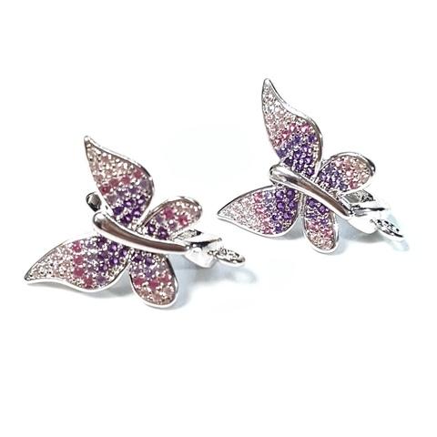 Швензы Бабочки с цирконами цвет платина 1 пара