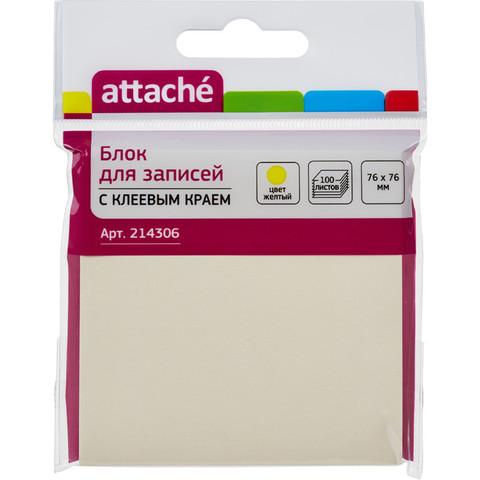 Стикеры ATTACHE с клеев.краем Z-блок 76х76 желтый 100л.
