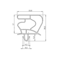 Уплотнитель 72,5*56,5 см для холодильника Liebherr FKUv 1663 (размер по пазу). Профиль 023