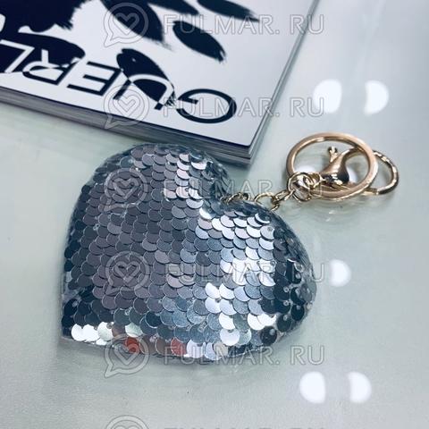Сердце брелок полностью в пайетках меняет цвет Зеркальный-Серебристый
