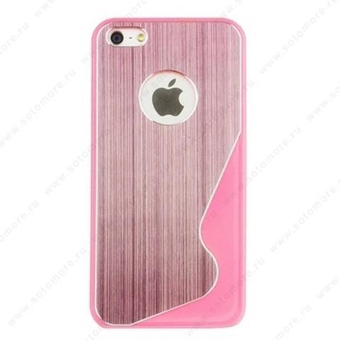 Накладка R PULOKA для iPhone SE/ 5s/ 5C/ 5 металлическая с зигзагами с одной стороны розовая