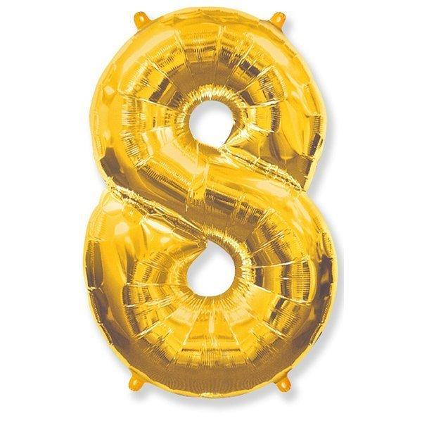 Фольгированная цифра 8, золото