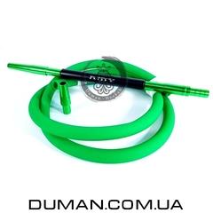 Комплект силиконовый шланг Soft-touch и алюминиевый мундштук AMY DeLuxe зеленый для кальяна