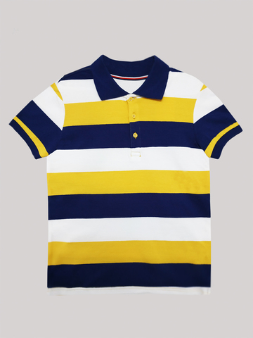 Футболка-поло (Темно-синий, белый, желтый)