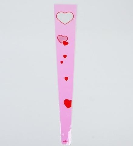 Пакет цветочный Конус на 1 розу Сердца цветной рисунок 15/80  (упак. 50 шт.), розовый