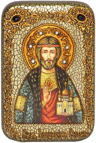 Инкрустированная Икона Святой князь Владислав Сербский 15х10см на натуральном дереве, в подарочной коробке